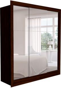 Guarda-Roupa Casal Com 3 Espelhos Luiza 3 Pt 2 Gv Marrom E Branco 190 Cm