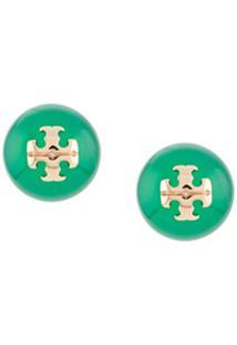 Tory Burch Logo Plaque Earrings - Verde