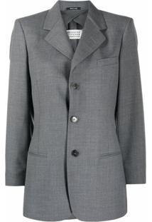 Maison Margiela Blazer Com Gola Alta E Abotoamento Simples - Cinza