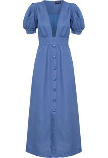Vestido Longo Manga Puff - Azul