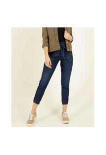 Calça Jogger Jeans Feminina Amarração Bolsos