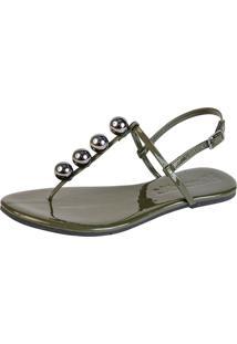 Rasteira Mercedita Shoes Verniz Verde Militar Com Bola Onix