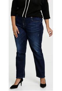 Calça Feminina Jeans Cigarrete Puídos Plus Size Marisa