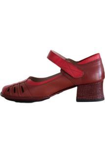 Sapato Boneca Salto Grosso Quadrado Estilo Retrô Vintage Vermelho