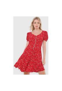 Vestido Polo Ralph Lauren Curto Botões Vermelho