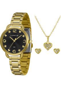 Kit De Relógio Analógico Lince Feminino + Brinco + Colar - Lrgh126L Kx20P2Kx Dourado
