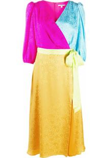 Olivia Rubin Vestido Envelope De Jacquard Color Block Com Estampa De Leopardo - Amarelo
