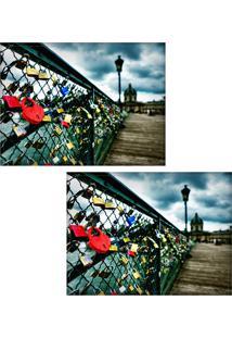 Jogo Americano Colours Creative Photo Decor - Cadeados Na Ponte Do Rio Sena Em Paris Na França - 2 Peças