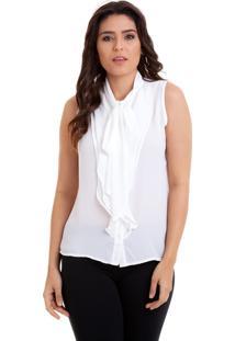 Camisa Kinara Regata Babados Laço Na Gola Branca
