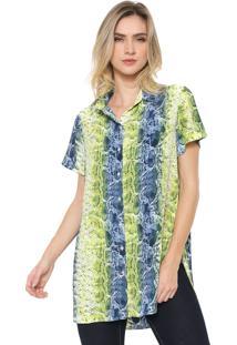 Camisa Amber Cobra Verde/Azul