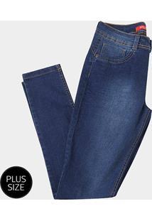 Calça Jeans Skinny Biotipo Aline Plus Size Feminina - Feminino-Azul