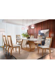Conjunto De Mesa De Jantar Alvorada Com 6 Cadeiras Tamara Suede Creme Com Imbuia E Off White