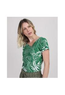 Blusa Feminina Estampada De Abacaxi Manga Curta Decote Redondo Verde