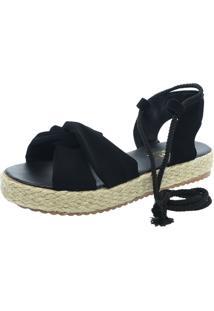 Sandalia Mariha Calçados Flatform Preta - Kanui