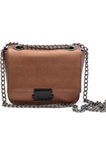 Bolsa Transversal Maria Milão Feminina Mini Bag Cobre Metalizada