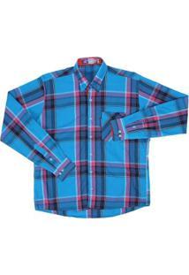 Camisa Manga Longa Xadrez Rodeo Western Masculina - Masculino-Azul
