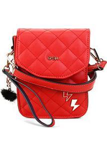 Bolsa Gash Mini Bag Matelassê Nah Cardoso Feminina - Feminino-Vermelho