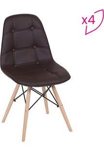 Jogo De Cadeiras Eames Botonãª- Cafã© & Bege- 4Pã§Sor Design
