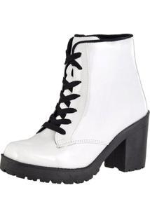 Bota Sapatofranca Ankle Boot Cano Curto Salto Médio Com Cadarço Branca