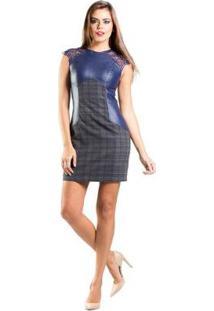 86d91d289 ... Vestido Renda Recortes Couro Xadrez Lume - Feminino-Azul Escuro