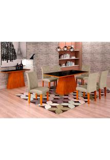 Conjunto De Mesa De Jantar Luna Com Vidro E 6 Cadeiras Ane I Linho Imbuia E Preto
