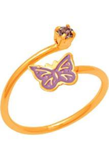 Anel Le Diamond Borboleta Dourado - Kanui