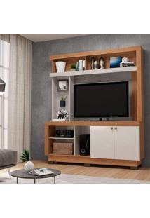 Estante Home Para Tv Até 50 Polegadas 2 Portas Valença Colibri Móveis Natural Real/Off White