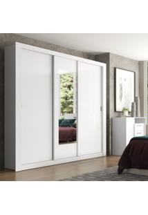 Guarda Roupa Casal Com Espelho 3 Portas De Correr Elus Carraro Flex Color Branco/Native