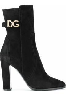 Dolce & Gabbana Bota De Couro Com Logo Dg - Preto
