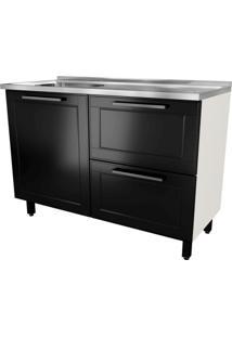 Balcão De Cozinha Black&White Com Pia 1 Pt 2 Gv Preto