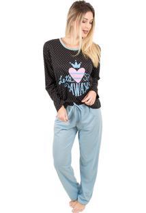 Pijama Bella Fiore Modas Em Poá Poliane Azul