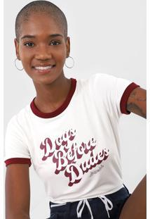 Camiseta Aeropostale Dogs Before Dudes Off-White/Vinho - Kanui