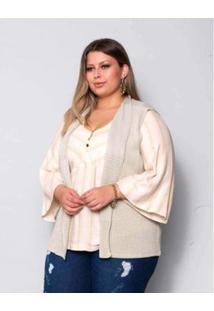 Blusa Plus Size Palank Moscow Feminina - Feminino-Bege