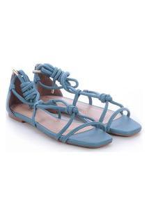 Sandália Rasteira Bellavine Feminina Lisa Amarração Conforto Azul Claro 33 Azul