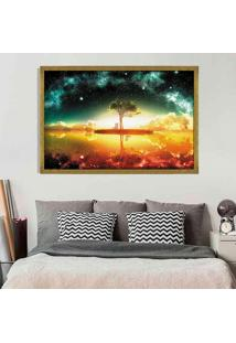Quadro Love Decor Com Moldura Universe Tree Dourado Médio