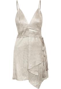 Vestido Curto Metalizado - Prata