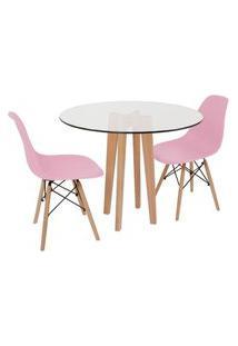 Conjunto Mesa De Jantar Em Vidro 90Cm Com Base Vértice + 2 Cadeiras Eiffel - Rosa