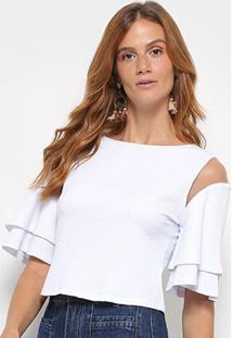 711c710d5 ... Blusa Morena Rosa Cropped Canelada Abertura Ombro Babado Feminina -  Feminino-Branco