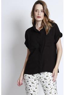 Camisa Com Bolsos - Preta - Linho Finolinho Fino