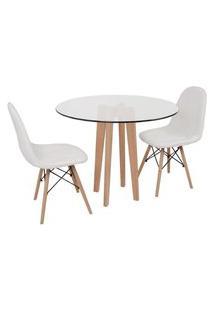 Conjunto Mesa De Jantar Em Vidro 90Cm Com Base Vértice + 2 Cadeiras Botonê - Branco
