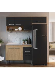 Cozinha Compacta Completa 3 Peã§As Mel E Grafite Lilies - Grafite/Marrom - Dafiti