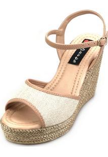 Sandália Anabela Love Shoes Alta Espadrille Tira Juta Nude