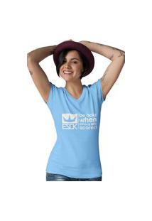 Camiseta Feminina Gola V Ezok Royal Brand Azul Claro