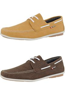 Kit Dockside Cr Shoes Lançamento Café E Amarelo