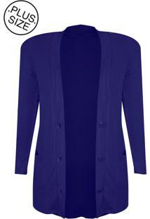 Cardigan Linda D Com Bolso Plus Size Azule484