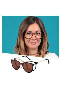 Armação De Grau Óculos De Sol Clipon Feminino Redondo Marrom Isabela Dias