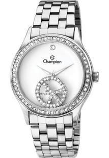Relógio Champion Com Pingente-Ch2578 - Feminino-Prata