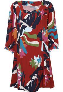 Vestido Cantão Curto Alpes Vermelho/Azul-Marinho