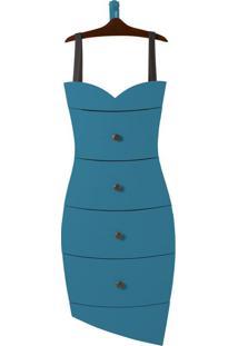 Cômoda Suspensa 4 Gavetas Dress 1081 Cacau/Azul - Maxima