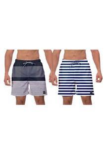 Kit 2 Shorts Moda Praia Cinza Listras Azuis Caminhada Ajustável Piscina Banho Surf Esporte W2